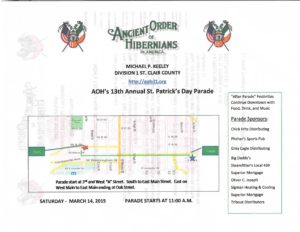 AOH St Patricks Day Parade Details