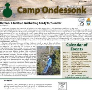Camp Ondessonk Spring Newsletter