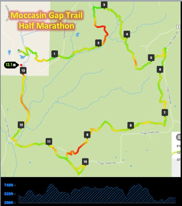 Moccasin Gap 13.1 Trail Run Map